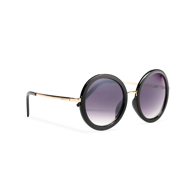 big round dark dark velvet lens sunglasses with silver frame and shiny black rims side view