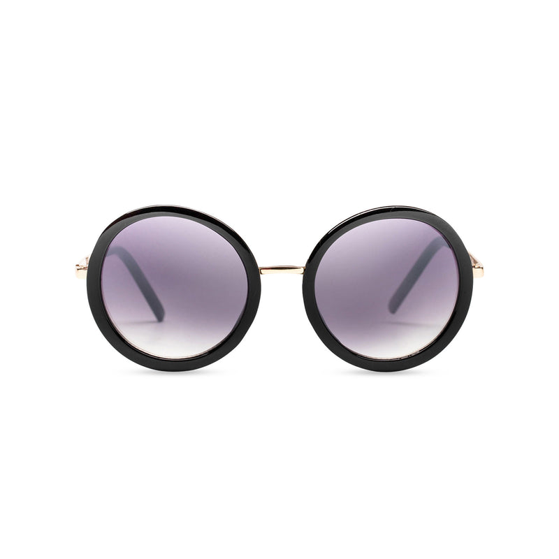 big round dark dark velvet lens sunglasses with golden frame and shiny black rims by SOLFUL Ibiza