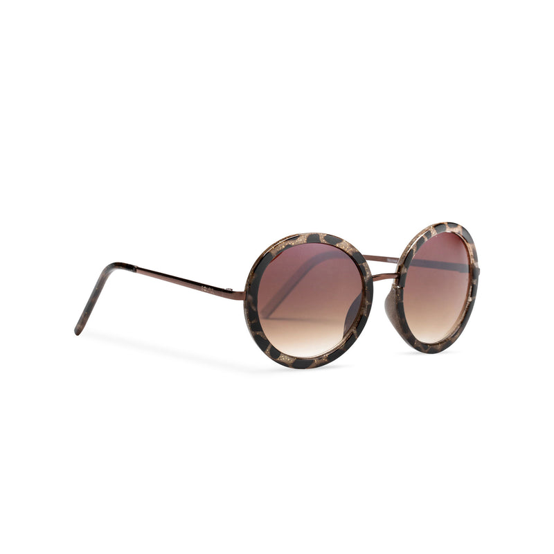 big round dark brown lens sunglasses with gold frame and leopard embellished side view
