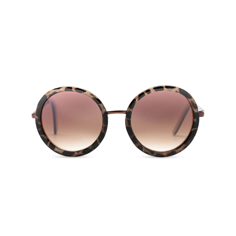 big round dark brown lens sunglasses with gold frame and leopard embellished by SOLFUL Ibiza