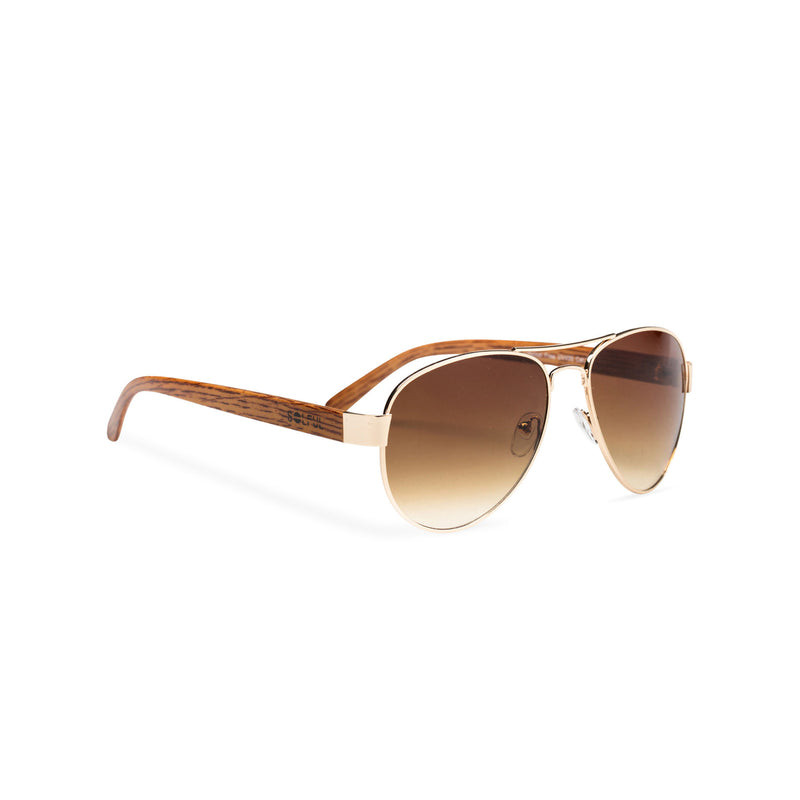Wood like and gold metal frame sunglasses with brown lens Ibiza style side view