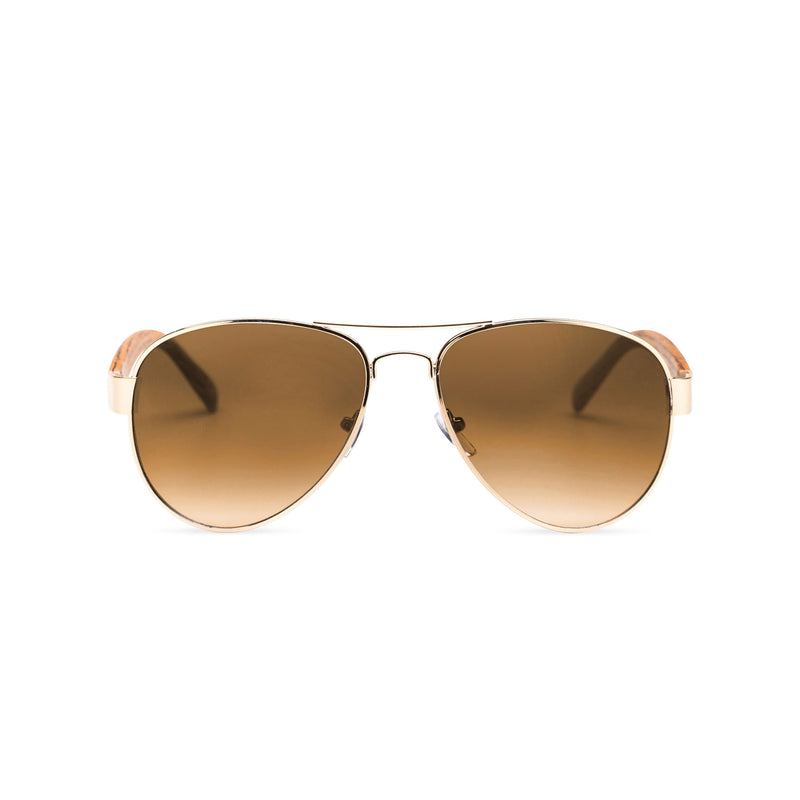 Wood like and gold metal frame sunglasses with brown rainbow lens Ibiza style