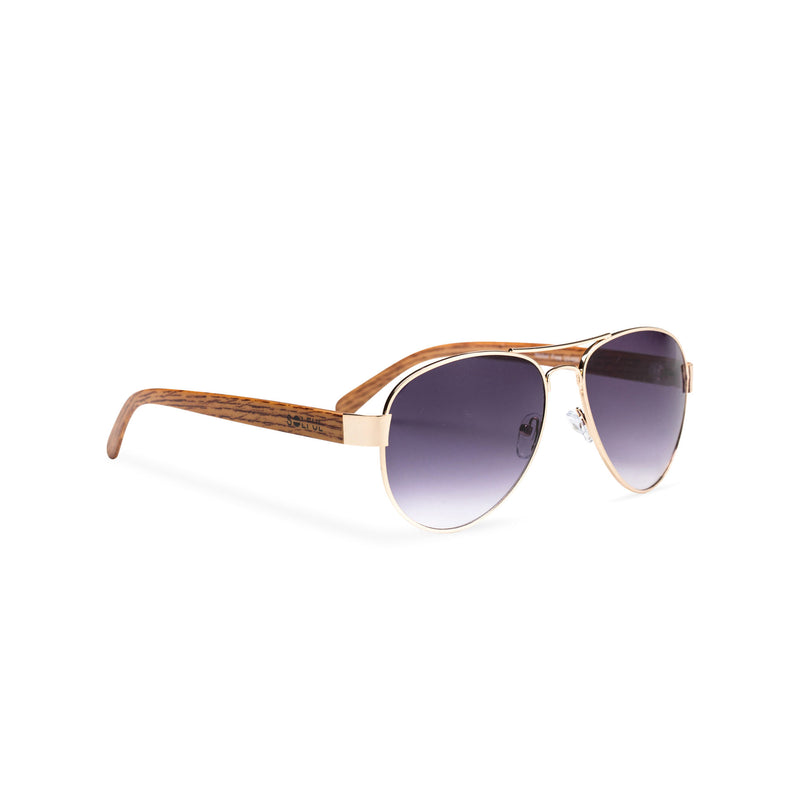 Wood like and gold metal frame sunglasses with purple lens Ibiza style side view