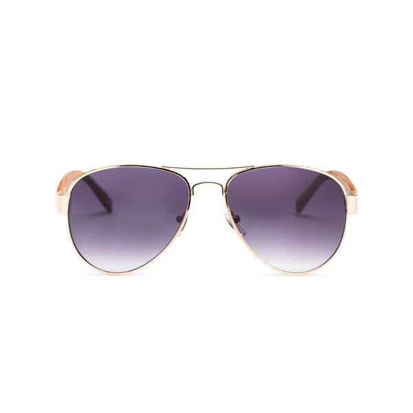 Wood like and gold metal frame sunglasses with purple lens Ibiza style front view