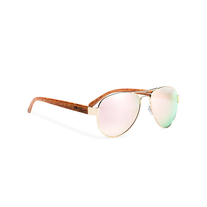 Wood like and metal frame sunglasses with pink rainbow lens Ibiza style side shot