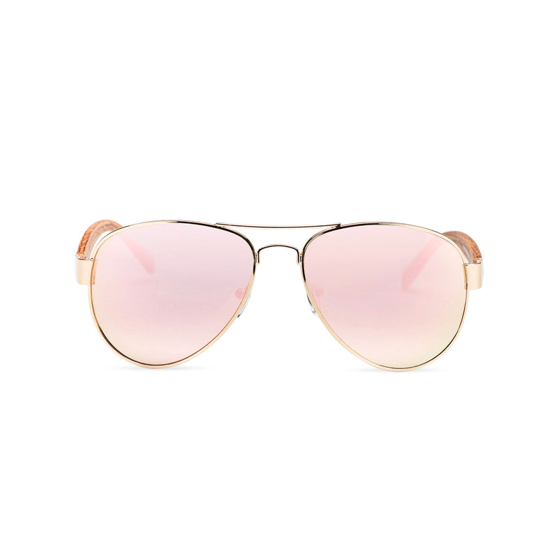 Wood like and metal frame sunglasses with pink rainbow lens Ibiza style