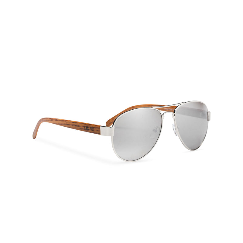Wood like and silver metal frame sunglasses with brown grey lens Ibiza style side view