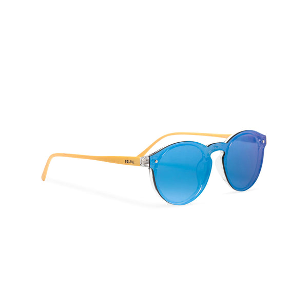 Side Blue mirror lens shades with plastic wood-like frame SOLFUL Ibiza sunglasses
