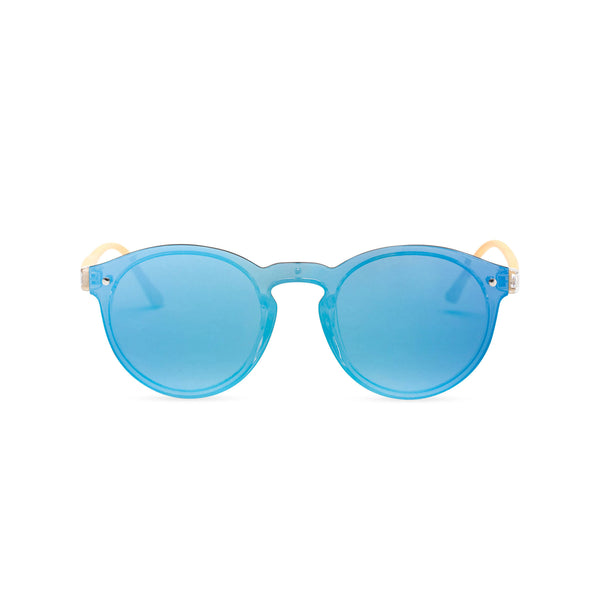 Sky Blue mirror lens shades with plastic wood-like frame SOLFUL Ibiza sunglasses