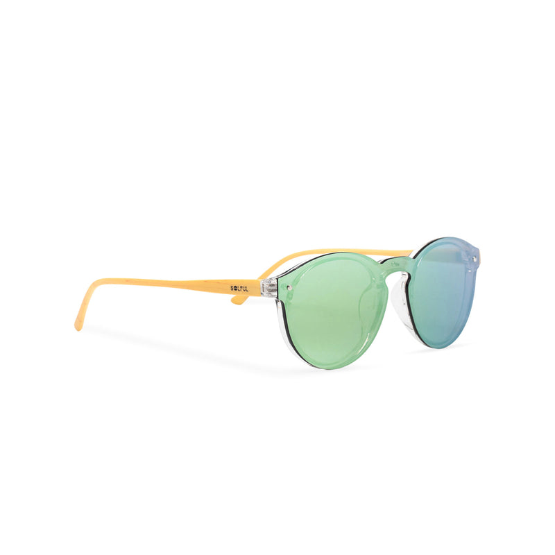 Rainbow green blue pink side shot mirror lens shades with plastic wood-like frame SOLFUL Ibiza sunglasses
