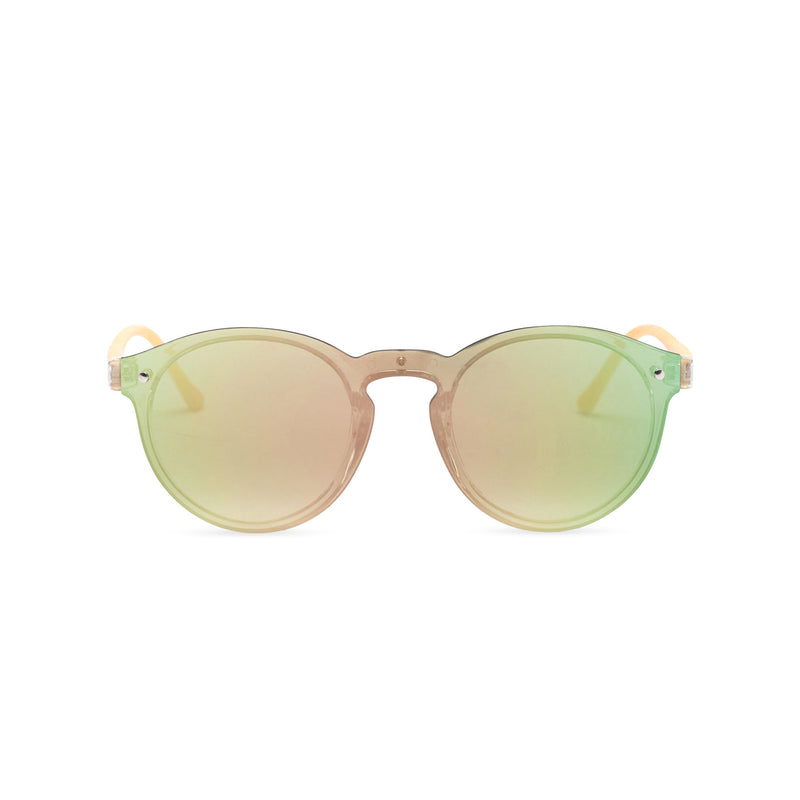 Rainbow green blue pink mirror lens shades with plastic wood-like frame SOLFUL Ibiza sunglasses