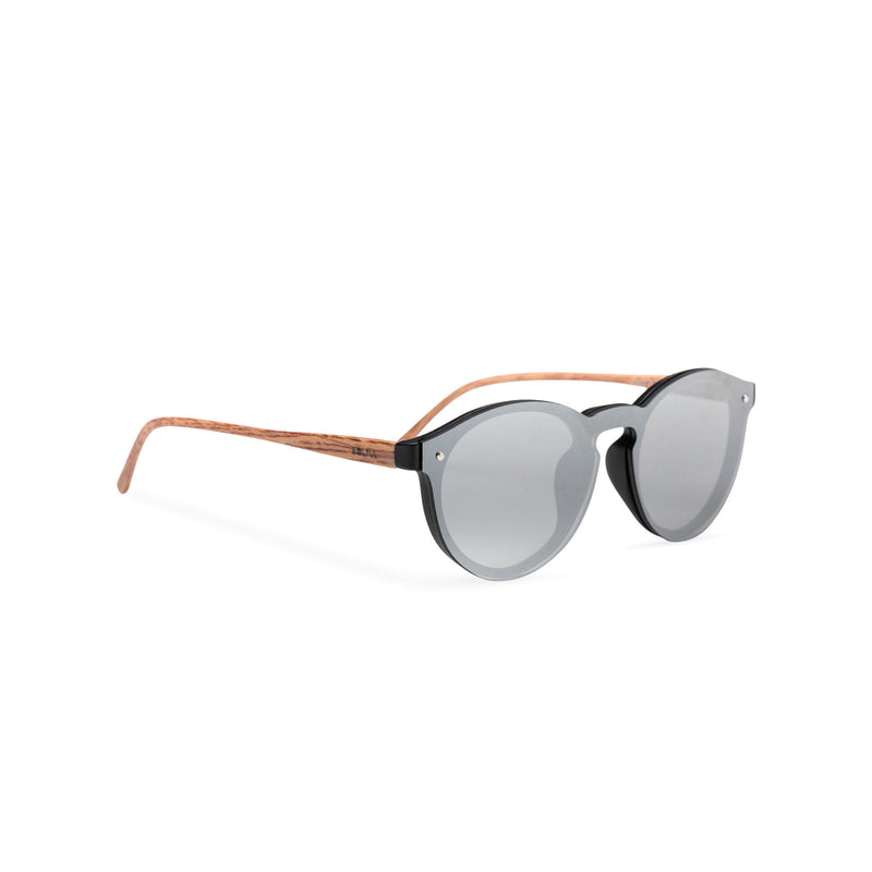 Side silver grey mirror lens shades with plastic wood-like frame SOLFUL Ibiza sunglasses