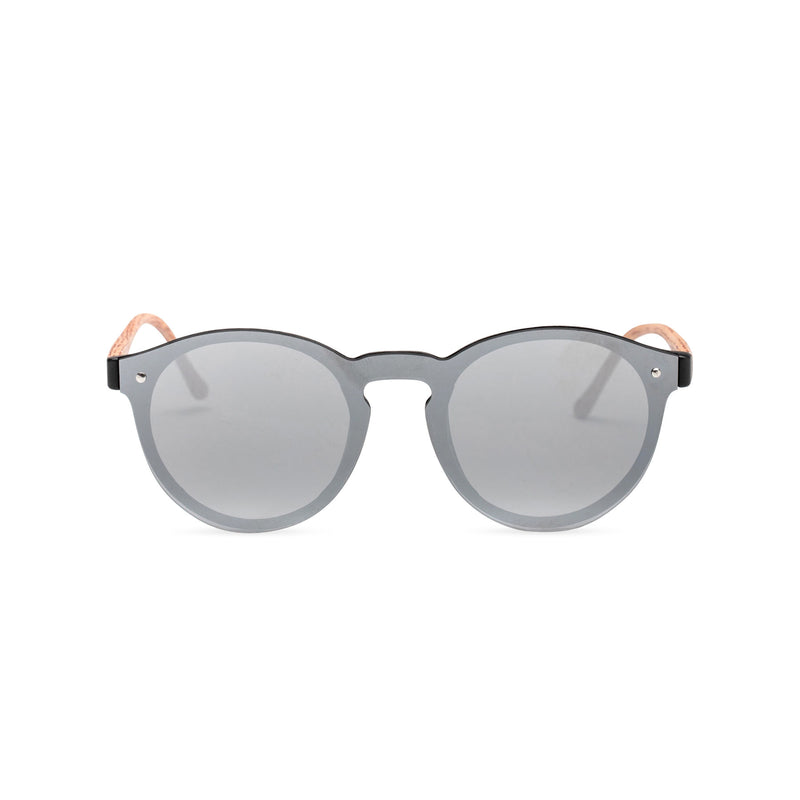 Silver grey mirror lens shades with plastic wood-like frame SOLFUL Ibiza sunglasses