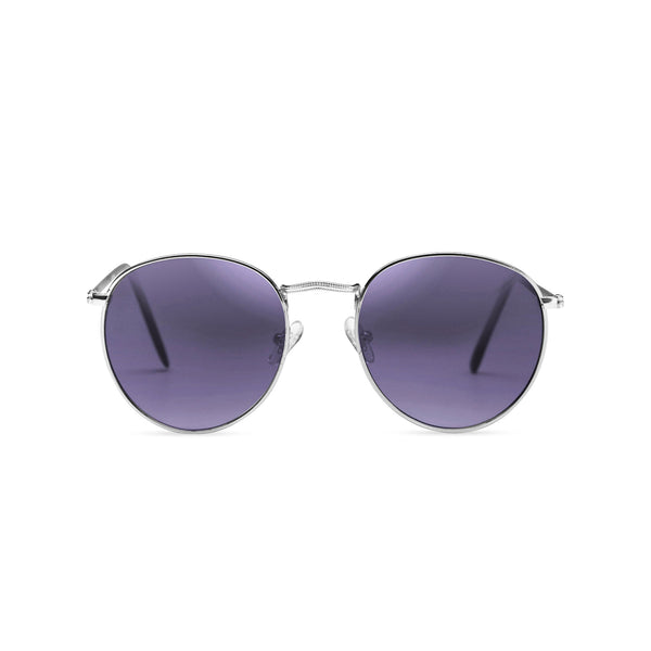 Round hipster metal silver sunglasses men and women UV 400 dark purple lens SOLFUL Ibiza shades front