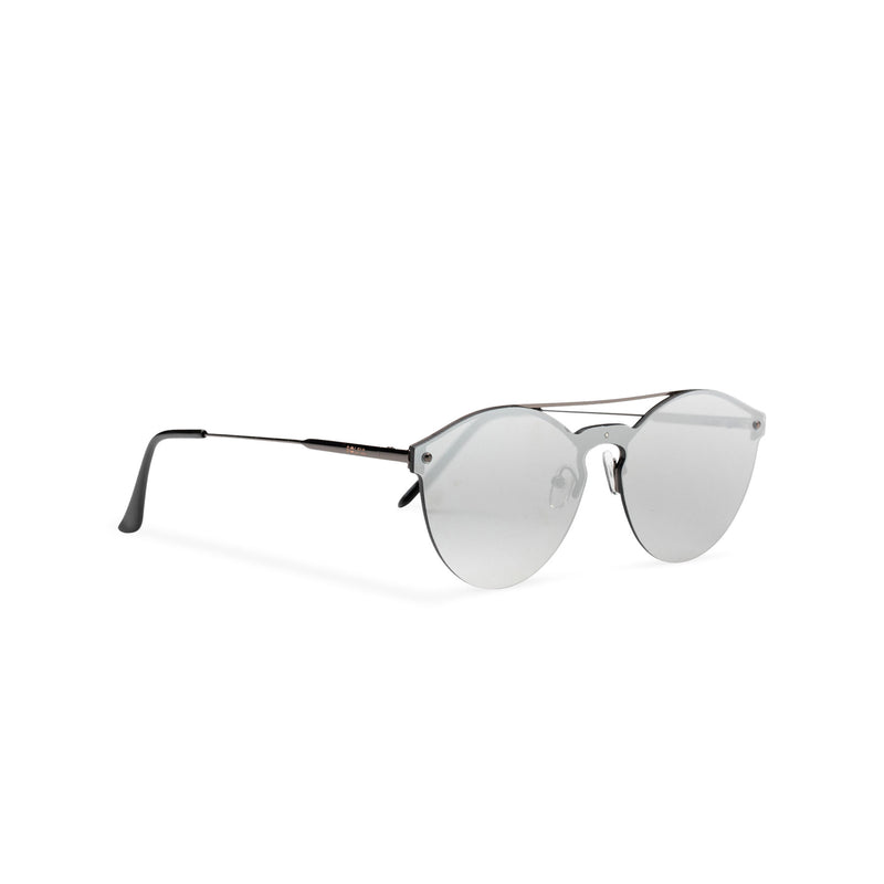 Mirror silver ibiza weekender style sunglasses by SOLFUL wayfarer side