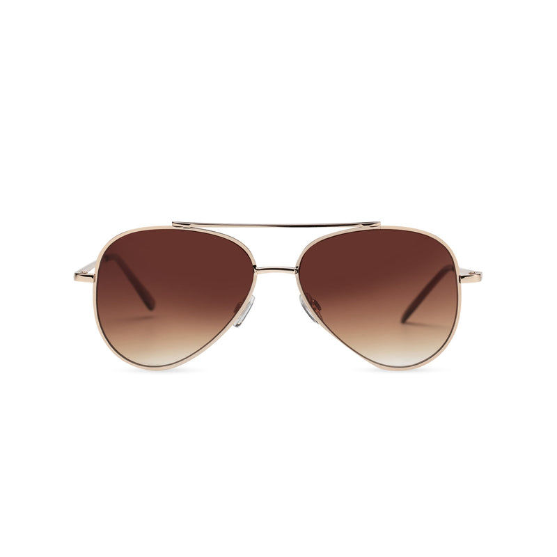 Front view of AMNESIA club big aviator sunglasses, gold metal frame with dark brown lens