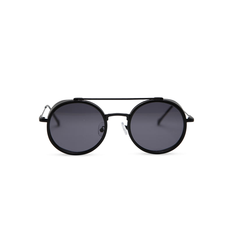 Black metal aviator sunglasses with metal side-shileds by SOLFUL Ibiza