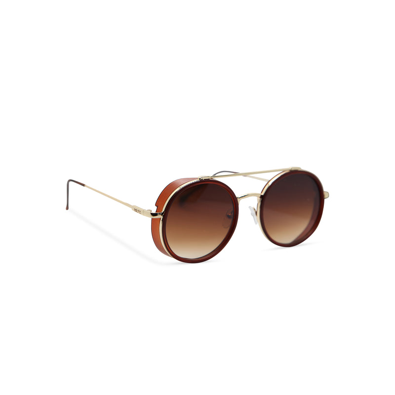 Side gold brown metal aviator sunglasses with metal side-shileds by SOLFUL Ibiza