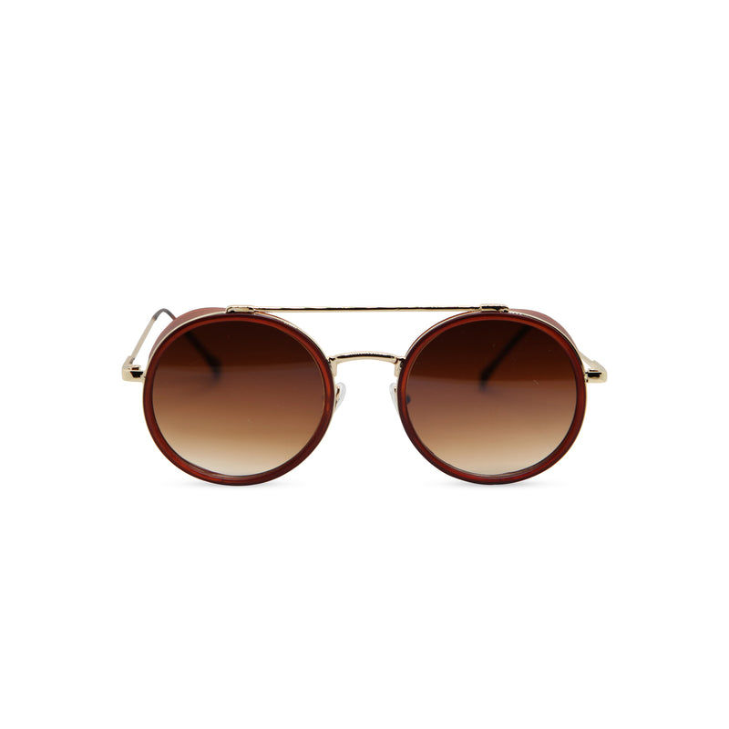 Gold brown metal aviator sunglasses with metal side-shileds by SOLFUL Ibiza