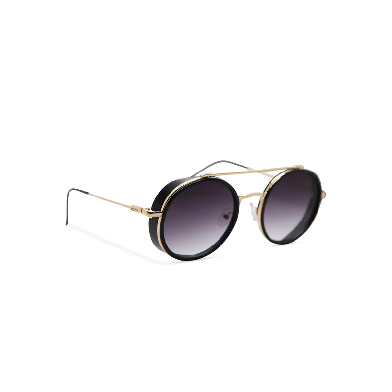 Side gold black metal aviator sunglasses with metal side-shileds by SOLFUL Ibiza