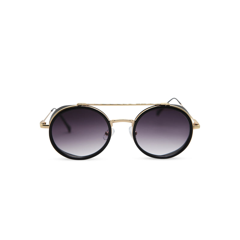 Front gold black metal aviator sunglasses with metal side-shileds by SOLFUL Ibiza