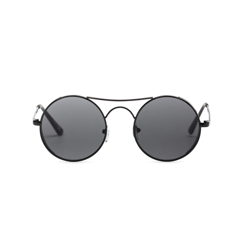 Face view of GOTICA aviator steampunk sunglasses - round dark black with browline