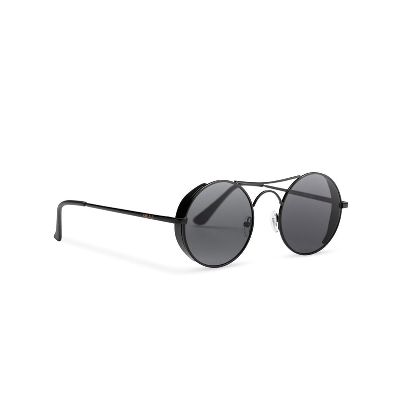 Side view of round dark black with browline GOTICA aviator steampunk sunglasses