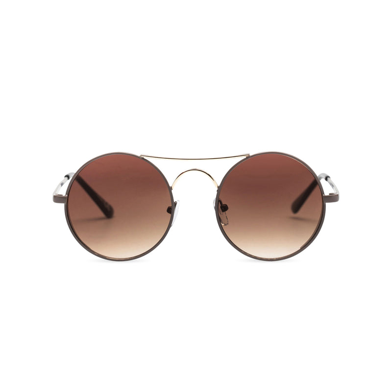 Face view of GOTICA aviator steampunk sunglasses - round dark brown with browline