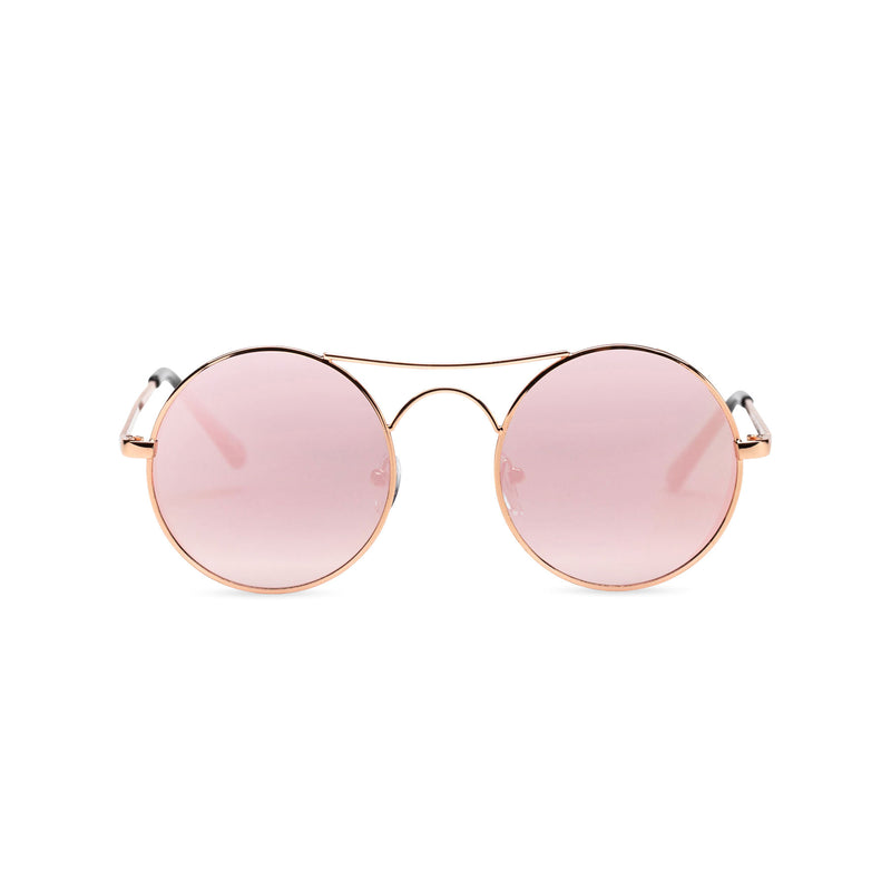 Face view of GOTICA aviator steampunk sunglasses - round mirror pink with browline