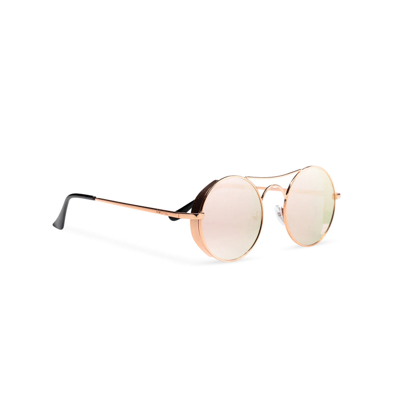 Side view of round mirror pink with browline GOTICA aviator steampunk sunglasses