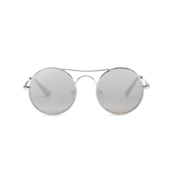 Face view of GOTICA aviator steampunk sunglasses - round mirror silver with browline