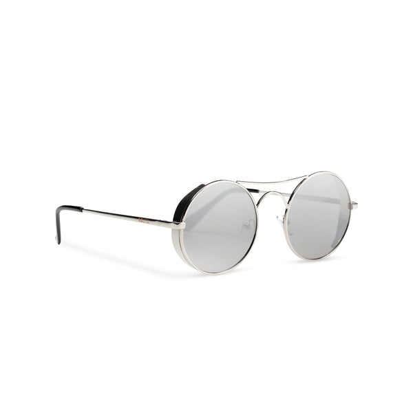Side view of round mirror silver with browline GOTICA aviator steampunk sunglasses