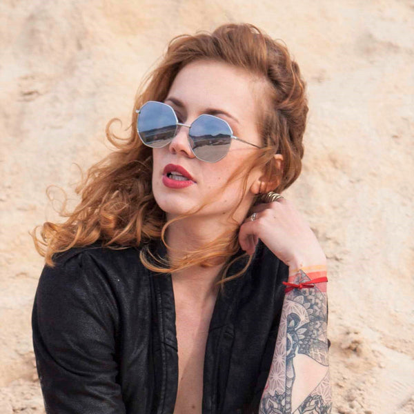 redhead women in black wear SOLFUL Ibiza metal RIDDLER octagonal sunglasses UV 400