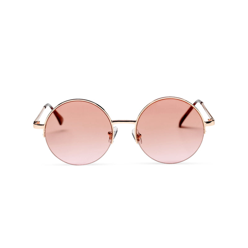 gold light brown round metal medium half rim sunglasses color gradient lens
