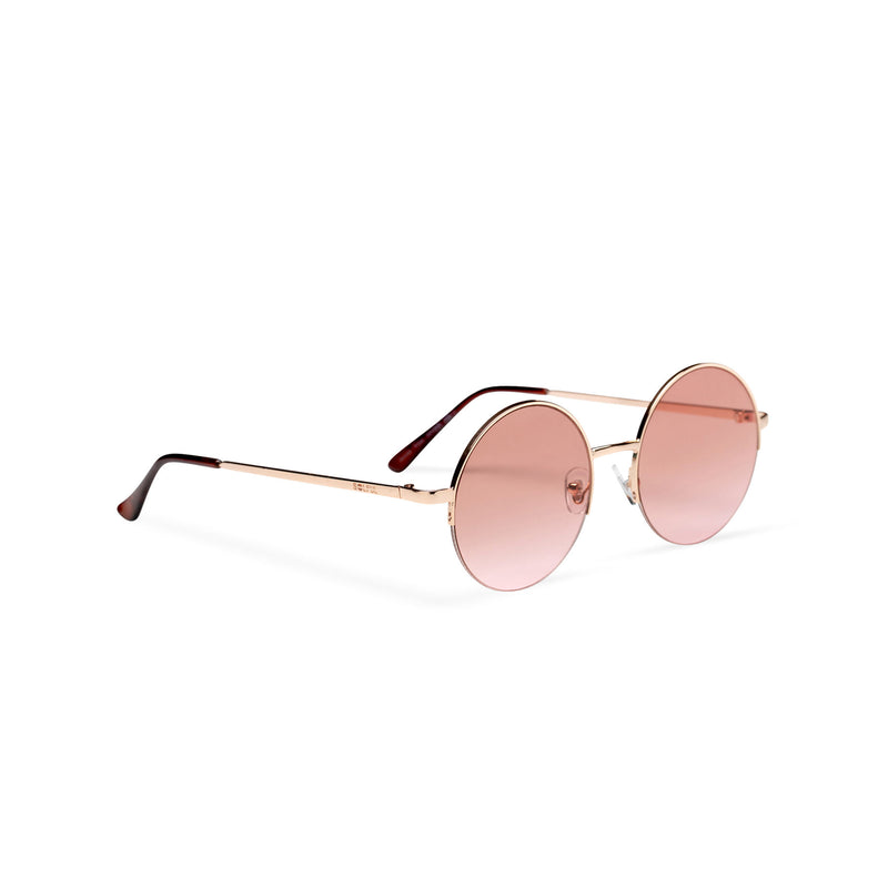 side gold light brown round metal medium half rim sunglasses color gradient lens