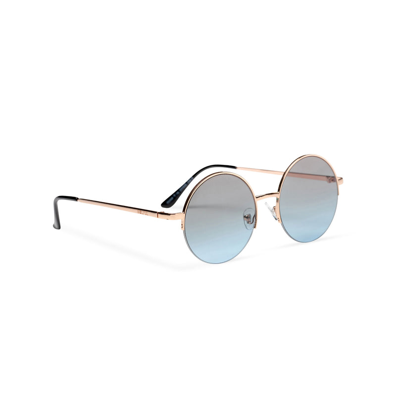 side grey blue round metal medium half rim sunglasses color gradient lens