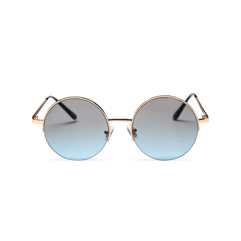 grey blue round metal medium half rim sunglasses color gradient lens