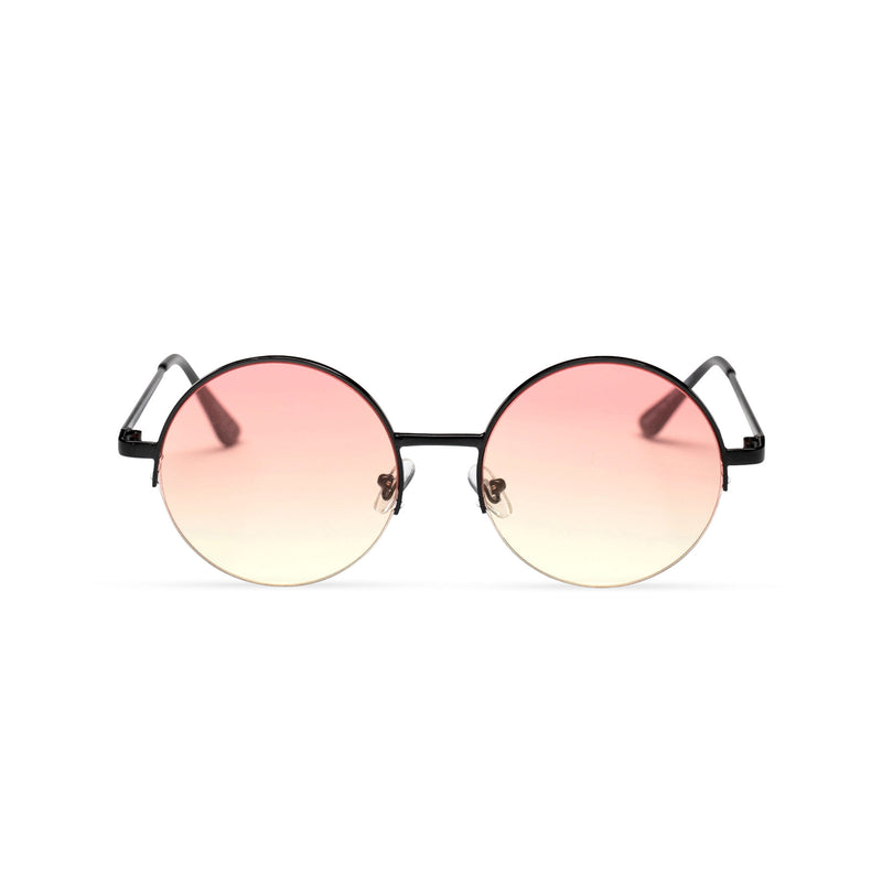 light yellow pink round metal medium half rim sunglasses color gradient lens