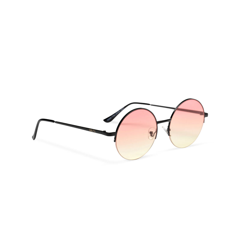 side light yellow pink round metal medium half rim sunglasses color gradient lens