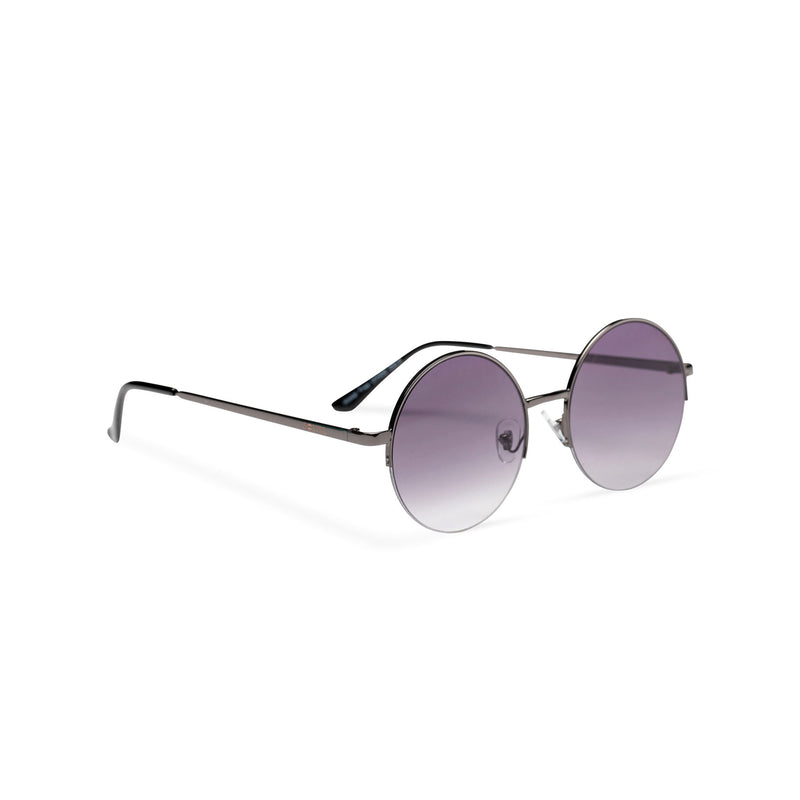 side purple violet round metal medium half rim sunglasses color gradient lens