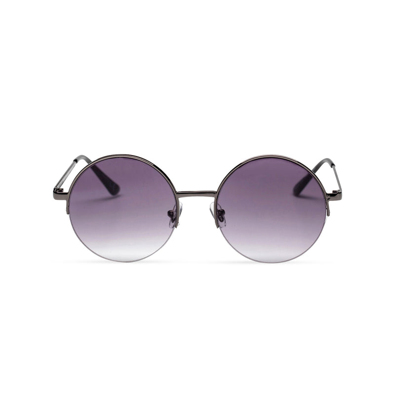 purple violet round metal medium half rim sunglasses color gradient lens