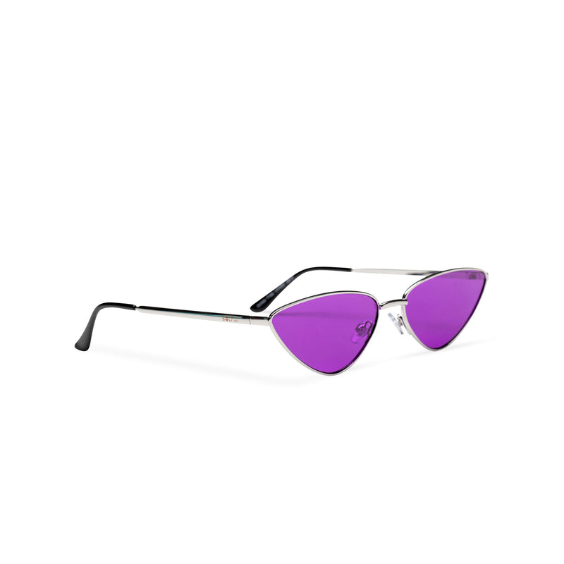 side purple transparent black small tiny cat eye sunglasses hipster style narrow Ibiza shades
