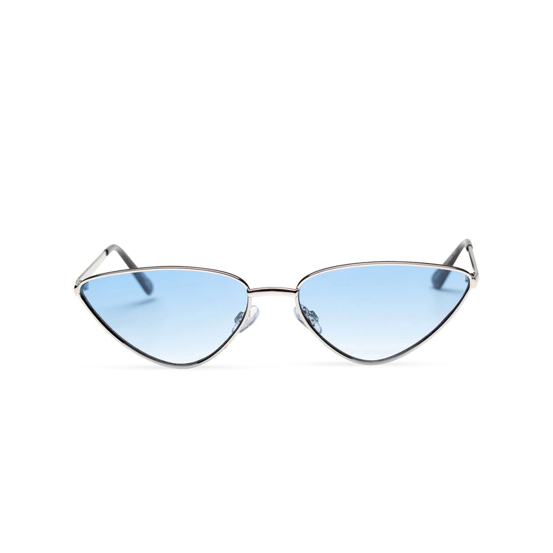 blue transparent silver small tiny cat eye sunglasses hipster style narrow Ibiza shades