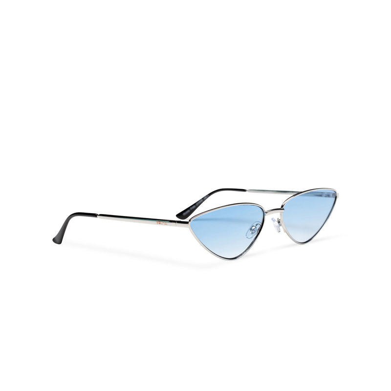 side light blue transparent black small tiny cat eye sunglasses hipster style narrow Ibiza shades