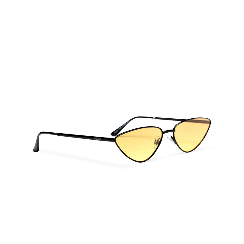 side light yellow transparent black small tiny cat eye sunglasses hipster style narrow Ibiza shades