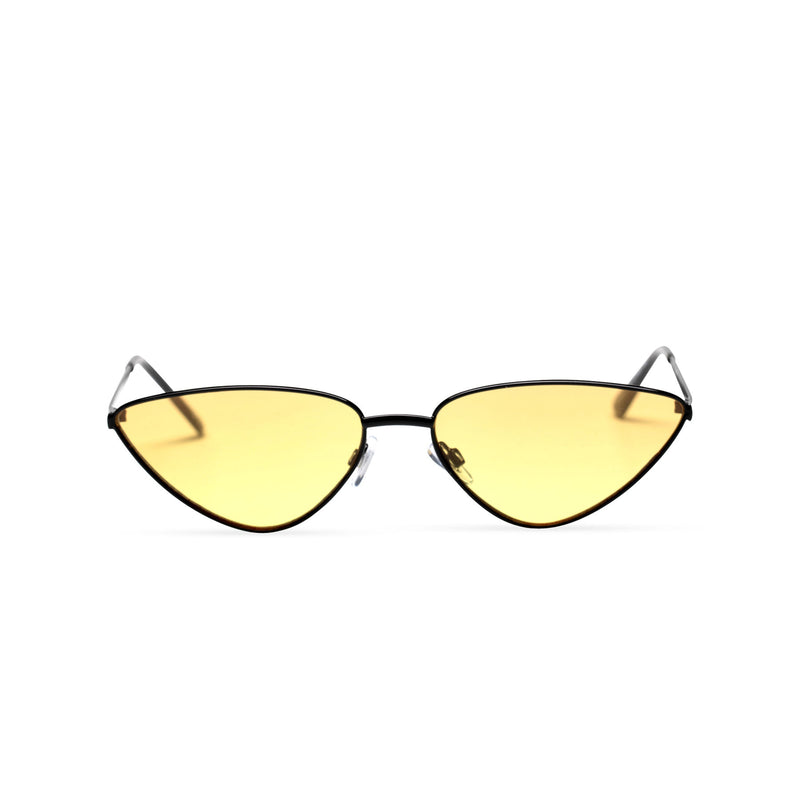 yellow transparent black small tiny cat eye sunglasses hipster style narrow Ibiza shades