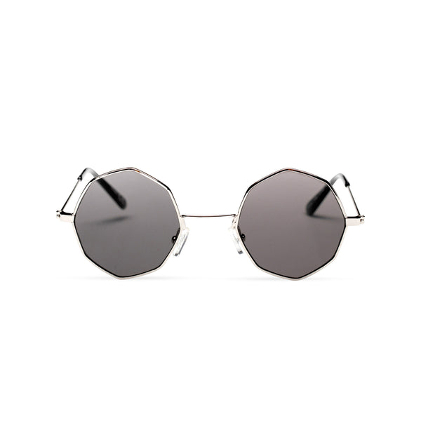 front silver frame dark lens octagon shape sunglasses SOLFUL Ibiza sunglasses design
