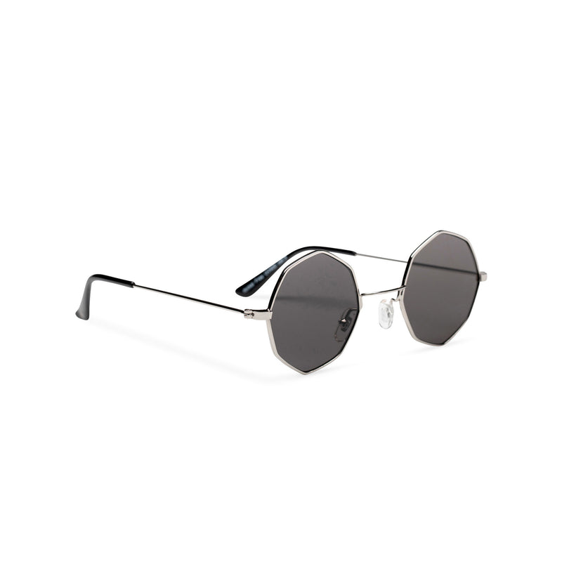 side silver frame dark lens octagon shape sunglasses SOLFUL Ibiza sunglasses design