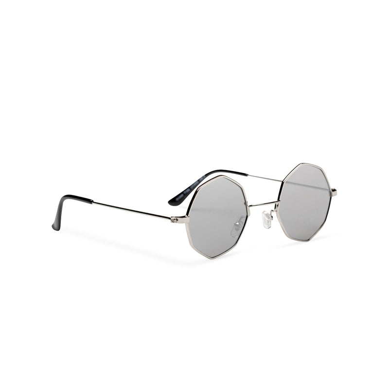 side silver frame silver lens octagon shape sunglasses SOLFUL Ibiza octagonal sunglasses design