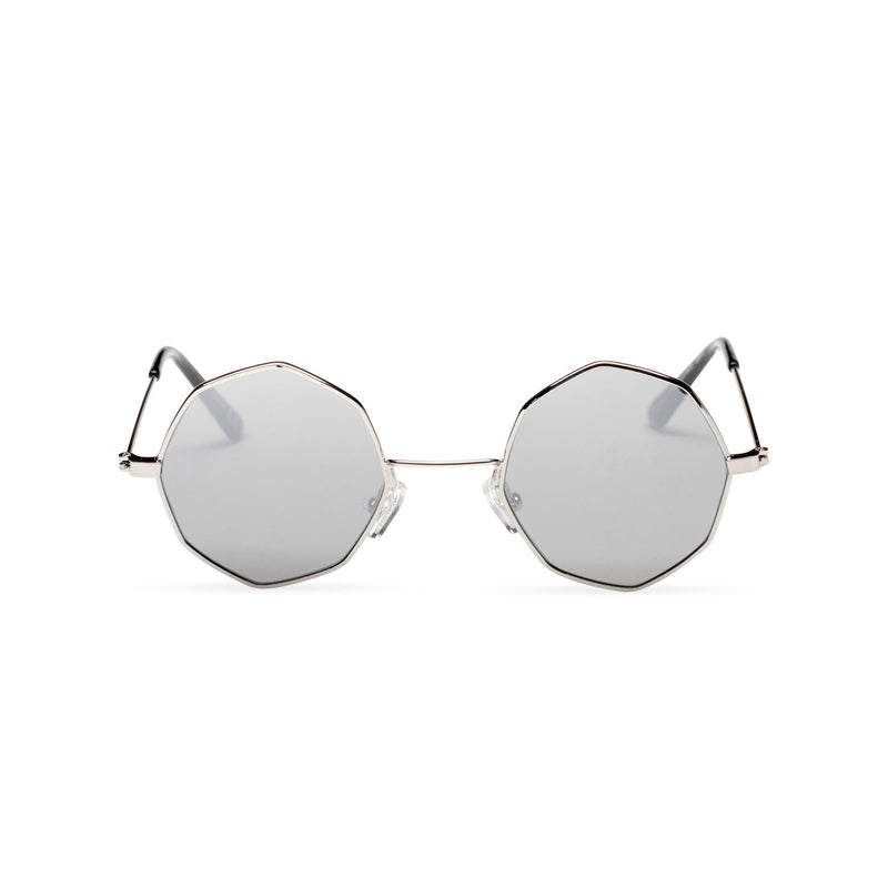front silver frame silver lens octagon shape sunglasses SOLFUL Ibiza sunglasses design